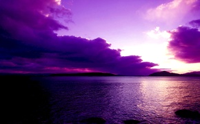 Picture the sky, clouds, sunset, mountains, clouds, lake, glow