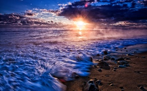 Picture sand, sea, the sky, water, the sun, clouds, landscape, nature, river, background, widescreen, Wallpaper, wallpaper, …