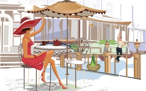 Picture girl, tea, kettle, cafe, guy, table