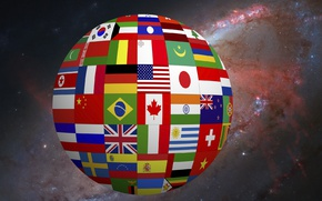 Picture love, Space, Earth, flags, Milky Way, other, wallpapers 1920 x 1080