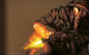 Picture FIRE, MACHINE, SHOTS, Gas MASK, SOLDIERS, AK74, KALASHNIKOV