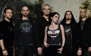 Picture forest, background, group, Within Temptation, Sharon den Adel