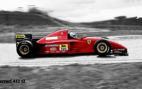 Picture black and white, Schumacher, gran prix, Ferrari 412 t2