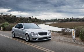 Picture silver, before, silver, mercedes, Mercedes, amg, e-class, e55