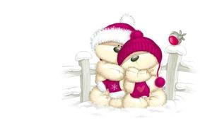 Picture winter, snow, the fence, art, bear, bird, two, bullfinch, children's