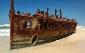 Wallpaper beach, Ship, the skeleton, rust