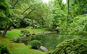 Picture greens, grass, leaves, trees, branches, bridge, pond, stones, garden, Canada, Vancouver, path, the bushes, Nitobe …