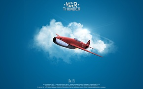 Picture the sky, clouds, the plane, war, minimalism, fighter, jet, war thunder, As-15