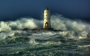 Picture sea, wave, storm, lighthouse