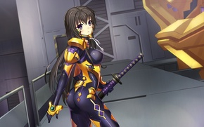 Picture chest, look, girl, weapons, surprise, costume, art, takamura yui, muv-luv alternative, dance of eternity