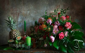 Picture candles, Bouquet, pineapple, avocado