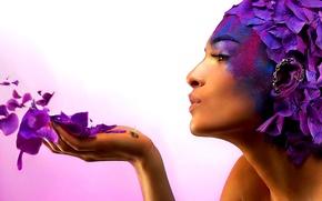 Picture girl, paint, OSA, petals, profile