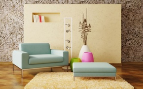 Picture design, interior, carpet, chair, wall, decor, Interior design, vases