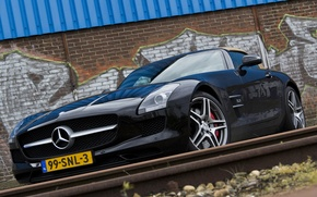 Picture wall, black, Mercedes, wall, Roadster, black, Mercedes, sls, amg, roadster, AMG