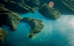 Picture sea, summer, the sun, hills, island, sailboat