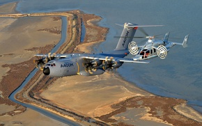 Picture sea, flight, earth, helicopter, the plane, military transport, four-engine, experimental, turboprop, hybrid, A400М, Eurocopter X3