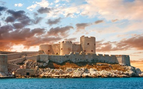 Picture sea, the sky, clouds, stones, castle, wall, France, tower, Sunny, Chateau d'if Marseille