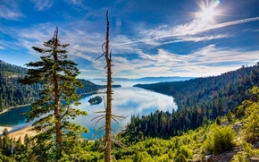 Picture forest, the sky, the sun, clouds, trees, mountains, lake, stones, CA, USA, the view from ...