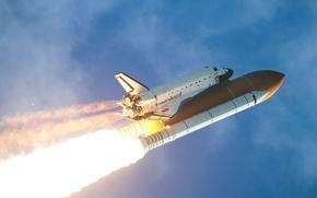 Picture the sky, start, Shuttle, Atlantis