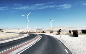 Picture road, desert, track, windmill, highway, mill, blades