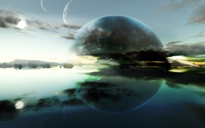 Picture water, reflection, planet, horizon