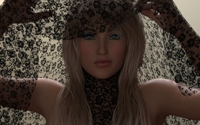 Picture girl, rendering, makeup, blonde, blue eyes, hands. fabric