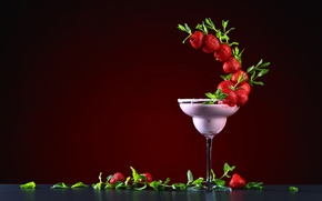 Wallpaper design, leaves, cocktail, red, glass, strawberry, berry