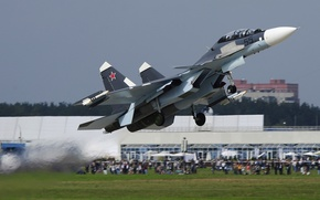 Wallpaper Dry, takeoff, chassis, Sukhoi Su-30, Soviet, possessing super-maneuverability, Airfield, The first production aircraft in the ...