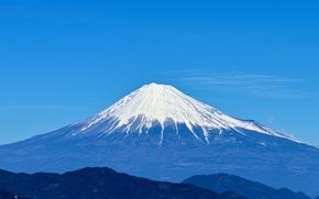 Picture the sky, snow, blue, landscape, mountain, the volcano, Japan, Fuji, Fuji