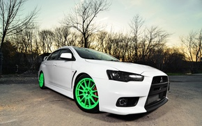 Picture green, Mitsubishi, white, wheels, lancer, evolution