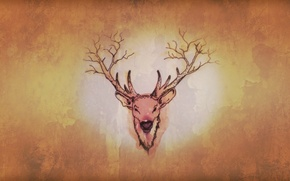 Picture forest, horns, minimalism, nature, brown, old, cute, Deer, strange, true detective