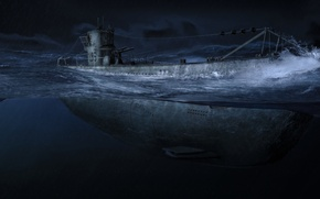Picture night, the ocean, Art, one, submarine, army, submarine, the, underwater, German, terrible, boats, U-99, The …