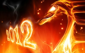 Wallpaper new year, 2012, new Year, fire dragon, fire dragon, The Year Of The Dragon, The ...