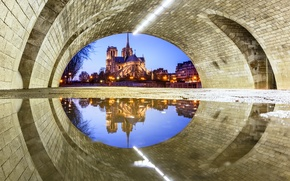 Picture light, reflection, bridge, the city, France, Paris, puddle, Notre Dame Cathedral, Catholic Cathedral, under the …
