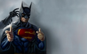 Picture batman, humor, superman, artwork, superheroes