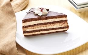 Picture chocolate, plate, sweets, cake, cake, cream, dessert, sweet, chocolate, glaze