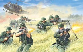 Picture weapons, figure, art, soldiers, helicopter, equipment, action, combat, shots, rifle, landing, guns, U.S.