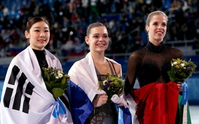 Picture flowers, smile, flag, figure skating, Italy, Korea, pedestal, RUSSIA, Sochi 2014, The XXII Winter Olympic …