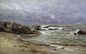 Picture stones, rocks, shore, picture, Seascape, Carlos de Haes