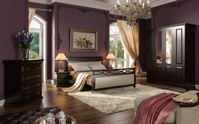 Picture flowers, design, furniture, bed, interior, picture, window, chandelier, curtains, bedroom