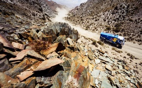 Picture Mountains, Blue, Dust, Sport, Machine, Speed, Stones, Truck, Race, Gorge, Kamaz, Rally, Dakar, KAMAZ, 2014