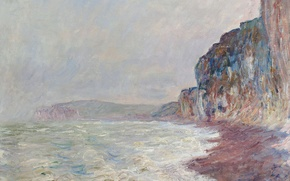Wallpaper Claude Monet, picture, seascape, Rock. Overcast