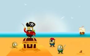 Wallpaper vector, treasure, Pirates