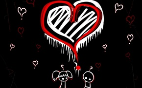 Picture love, black, Heart