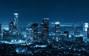 Picture Night, The city, Skyscrapers, USA, Megapolis, Los Angeles