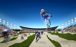 Picture London, flag, cyclists, symbols, tribune, background, Velodrome, logo summer Olympics 2012, the flags of the …
