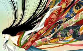 Picture tape, kimono, long hair, art, Green Glass, ozora
