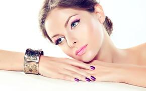 Picture girl, portrait, hands, makeup, bracelet