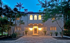 Picture house, palm trees, Villa, the evening, architecture, exterior, Miami Beach Tropical Hideaway