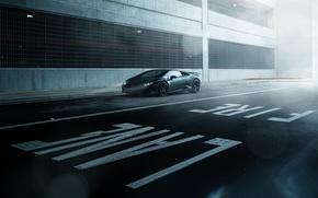 Picture Lamborghini, Dark, Front, Black, Color, Road, Supercar, Wheels, Huracan, LP610-4